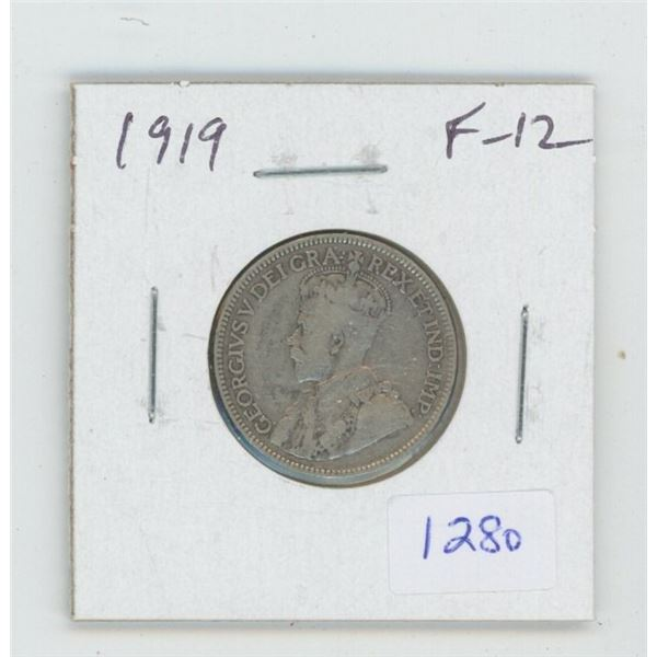 1919 George V Silver 25 Cents. F-12.