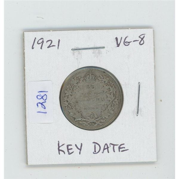 1921 George V Silver 25 Cents. VG-8. Key Date. Mintage of 597,337.