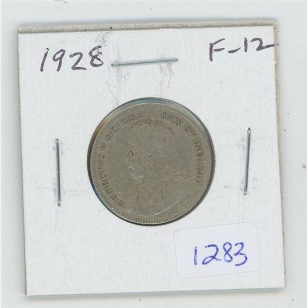 1928 George V Silver 25 Cents. F-12.