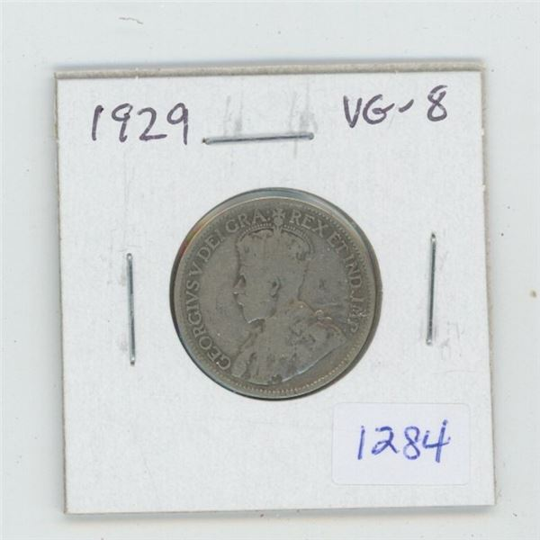 1929 George V Silver 25 Cents. The year of the Great Depression. VG-8.