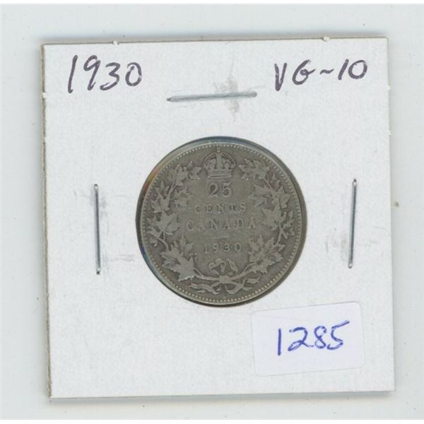 1930 George V Silver 25 Cents. VG-10.