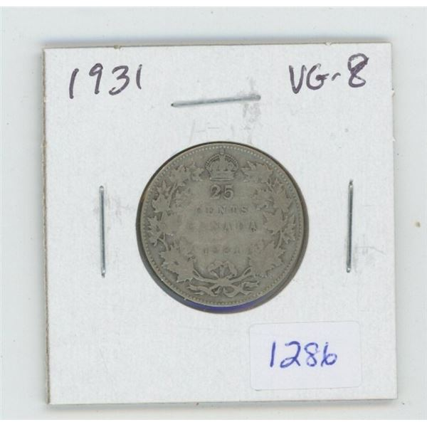 1931 George V Silver 25 Cents. VG-8. Key Date. Mintage of 537,815.