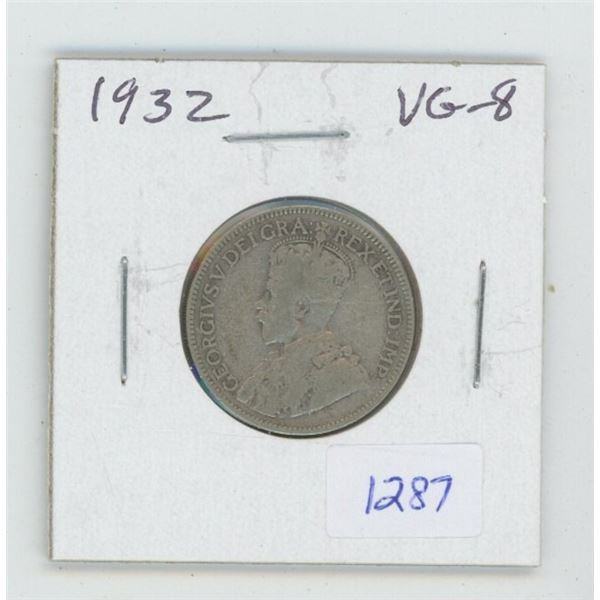 1932 George V Silver 25 Cents. VG-8. Key Date. Mintage of 537,994.