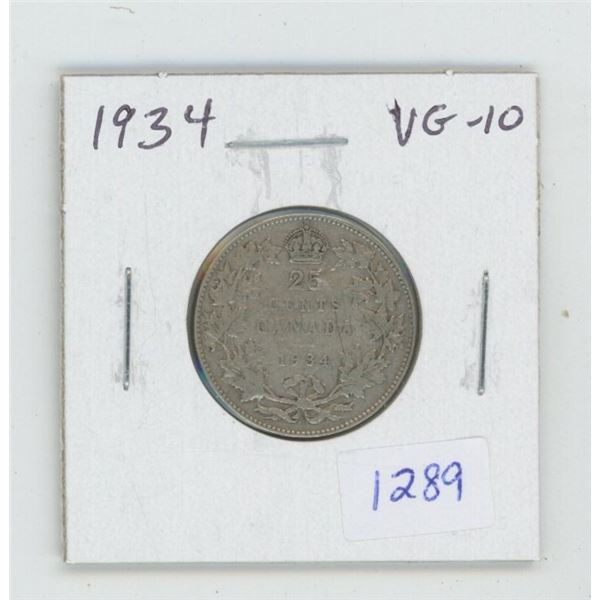 1934 George V Silver 25 Cents. VG-10. Key Date. Mintage of 384,350.