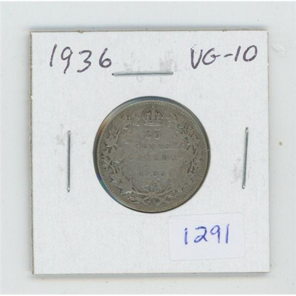 1936 George V Silver 25 Cents. VG-10. The last issue of George V.