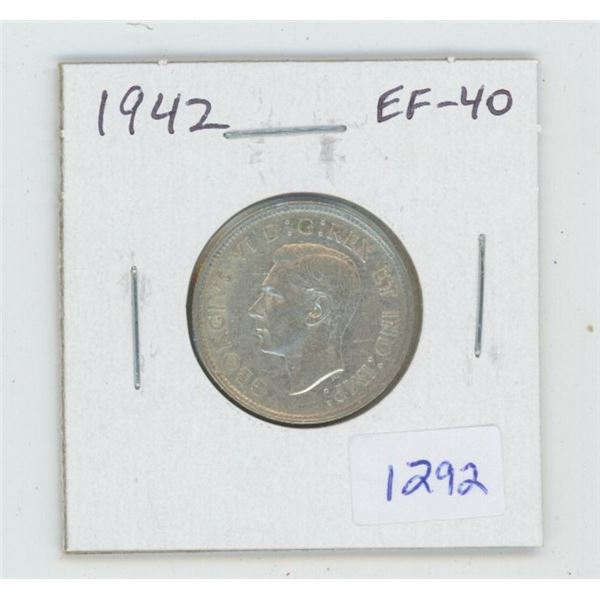 1942 George VI Silver 25 Cents. World War II issue. EF-40. Nice.
