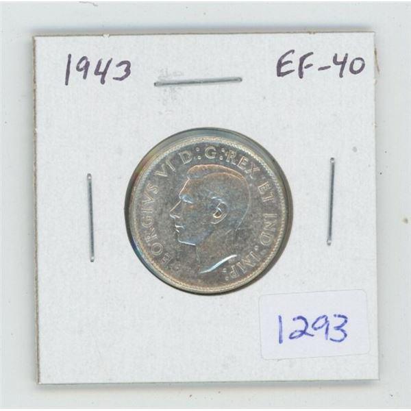 1943 George VI Silver 25 Cents. World War II issue. EF-40. Nice.