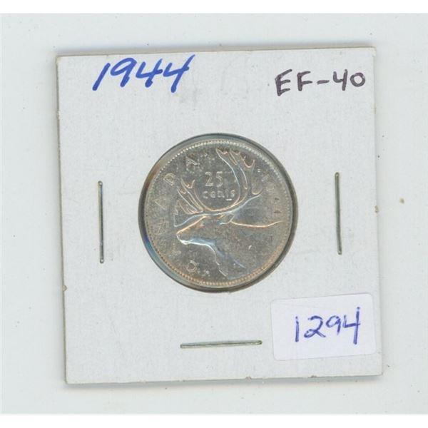 1944 George VI Silver 25 Cents. World War II issue. EF-40. Nice.