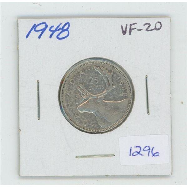 1948 George VI Silver 25 Cents. VF-20.