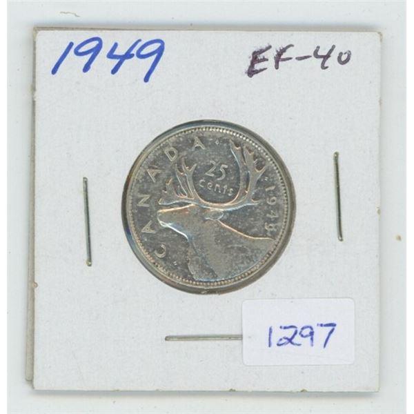 1949 George VI Silver 25 Cents. EF-40. Nice.