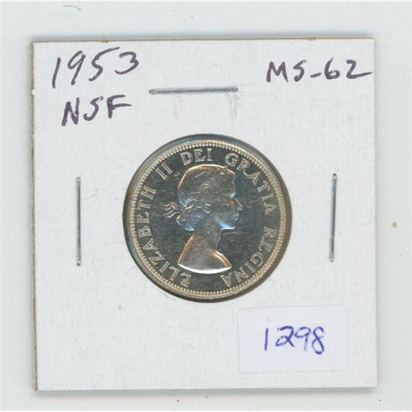 1953 No Shoulder Fold Silver 25 Cents. MS-62. Lustrous. Nice.