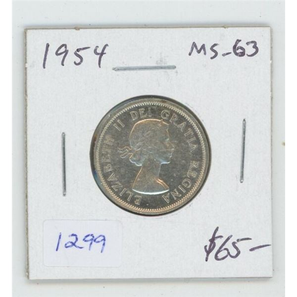 1954 Silver 25 Cents. MS-63. Nice.