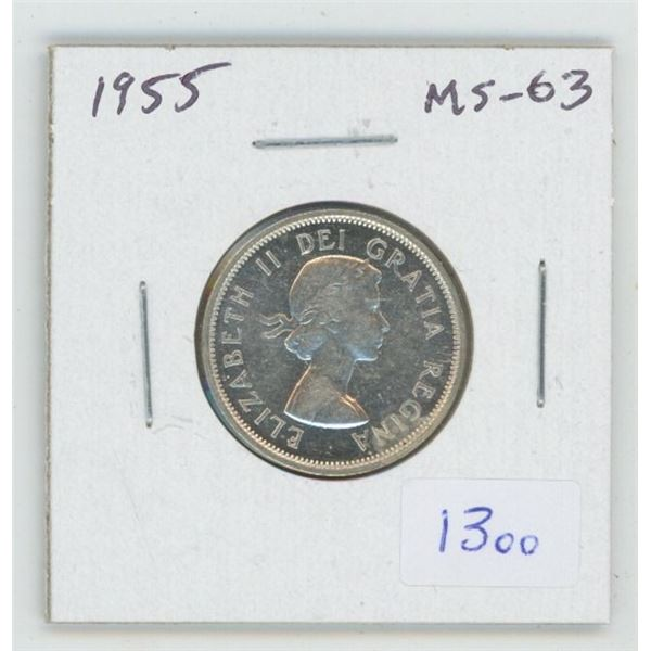 1955 Silver 25 Cents. MS-63. Nice.