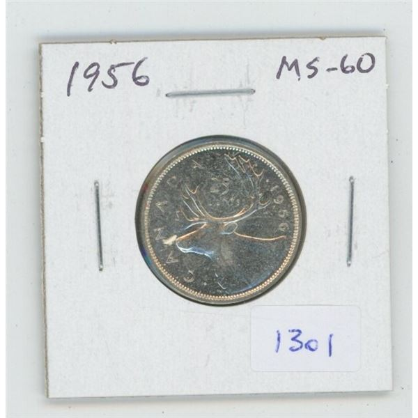 1956 Silver 25 Cents. MS-60. Nice.