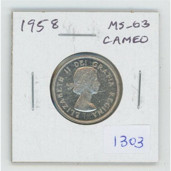 1958 Silver 25 Cents. MS-63. Cameo. Nice.