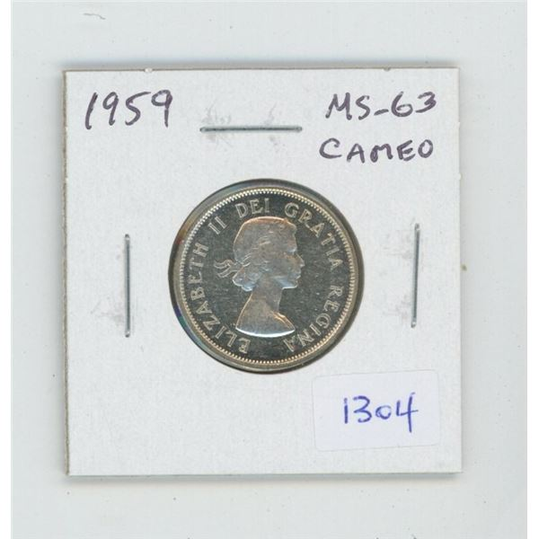 1959 Silver 25 Cents. MS-63. Cameo. Nice.