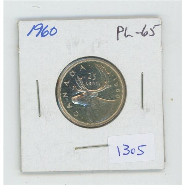 1960 Silver 25 Cents. Proof Like-65. Nice.