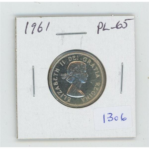 1961 Silver 25 Cents. Proof Like-65. Nice.