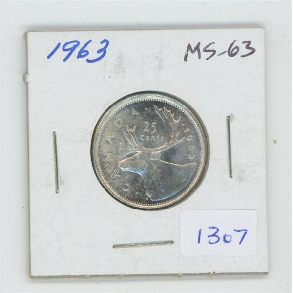 1963 Silver 25 Cents. MS-63. Nice.