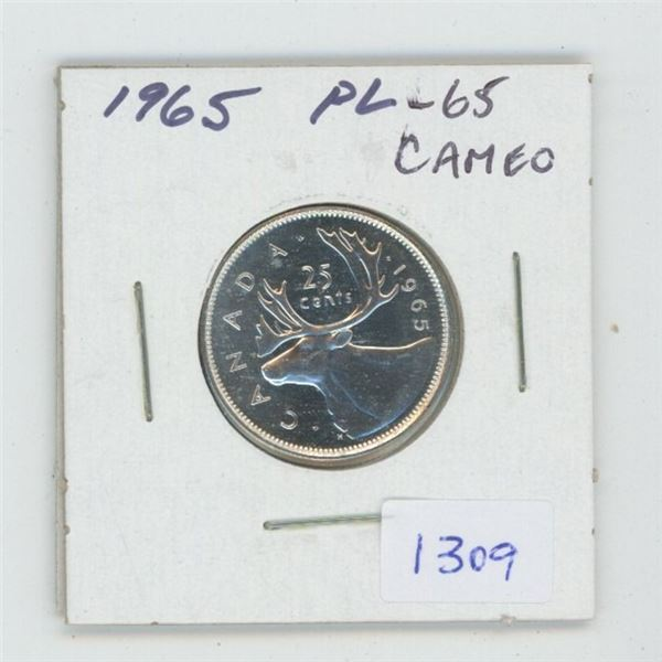 1965 Silver 25 Cents. Proof Like-65. Cameo. Beautiful.
