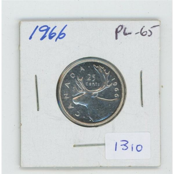 1966 Silver 25 Cents. Proof Like-65. Nice.