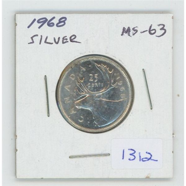 1968 Silver 25 Cents. The last 25 cents issued in silver. MS-63. Nice.