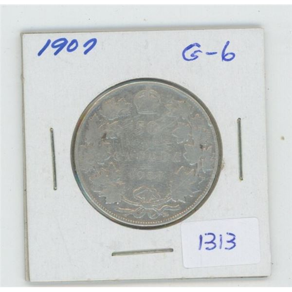 1907 Edward VII Silver 50 Cents. Key Date. Mintage off 300,000. The last silver 50 cents minted in E