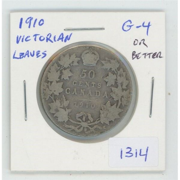 1910 Victorian Leaves Silver 50 Cents. G-4 or better. The last silver 50 cents minted for Edward VII