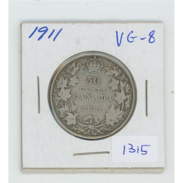 1911 George V Silver 50 Cents. Key Date. Mintage of 209,972. The first 50 cents struck for George V.