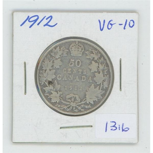 1912 George V Silver 50 Cents. Key Date. Mintage of 285,867. VG-10.