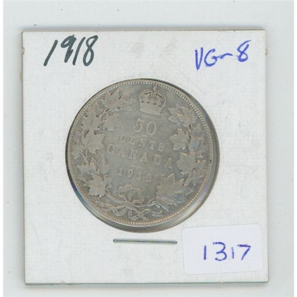 1918 George V Silver 50 Cents. World War I issue. VG-8.