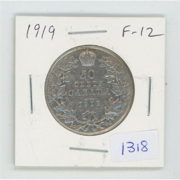 1919 George V Silver 50 Cents. F-12.