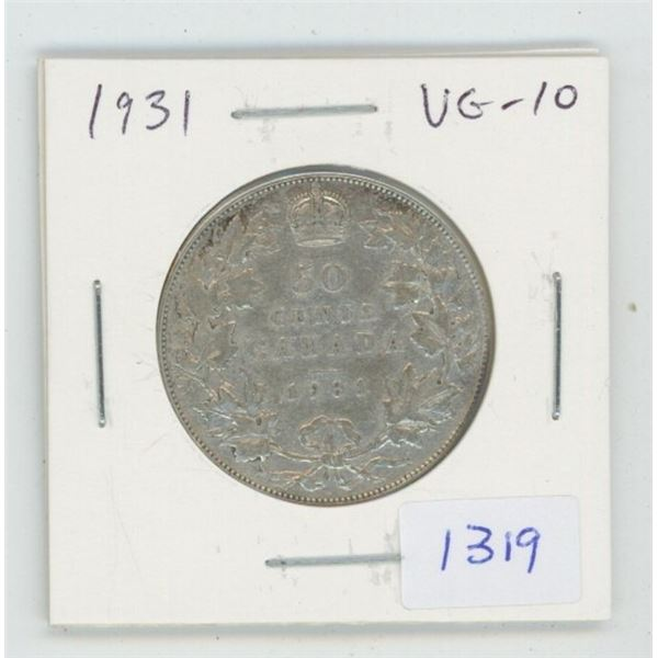 1931 George V Silver 50 Cents. VG-10. Key Date. Mintage of 57,581.