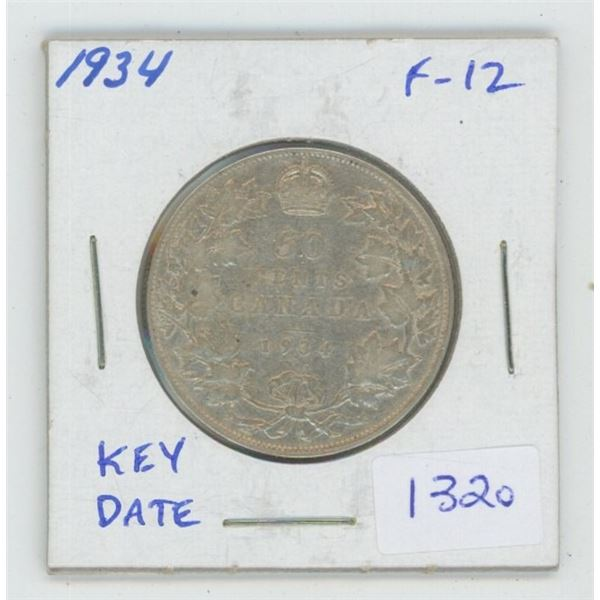 1934 George V Silver 50 Cents. F-12. Key Date. Mintage of 39,539.