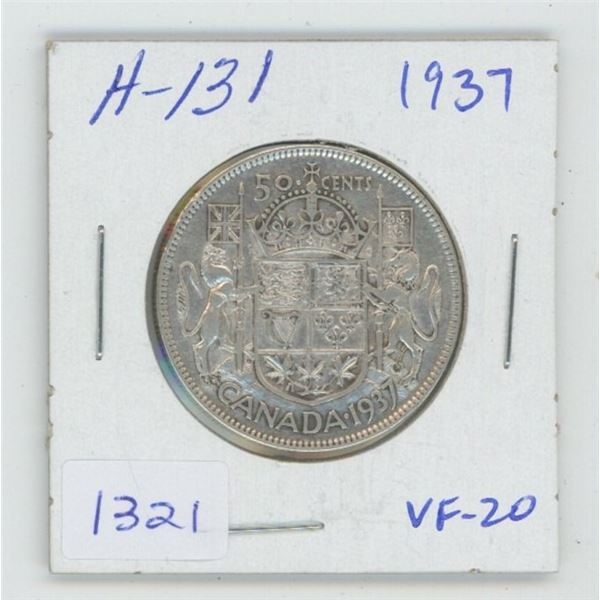 1937 George VI Silver 50 Cents. VF-20. First issue of George VI. Key Date. Mintage of 192,016.