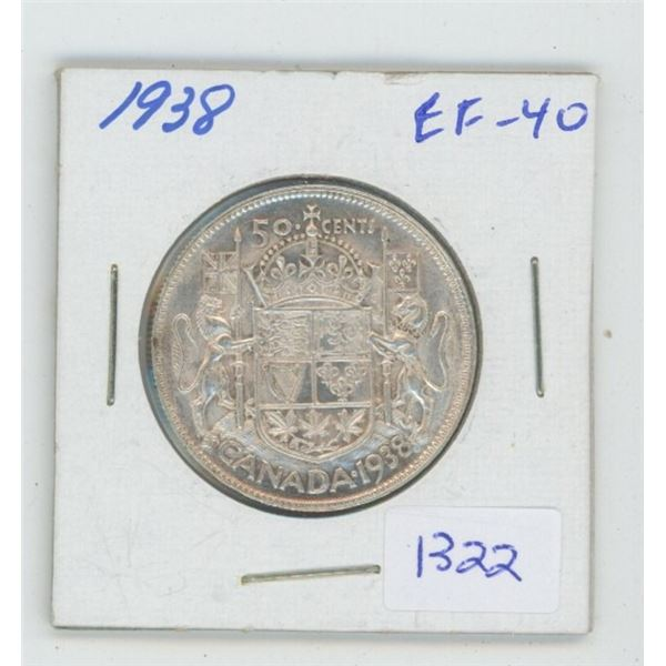 1938 George VI Silver 50 Cents. EF-40. Nice. Key Date. Mintage of 192,018.