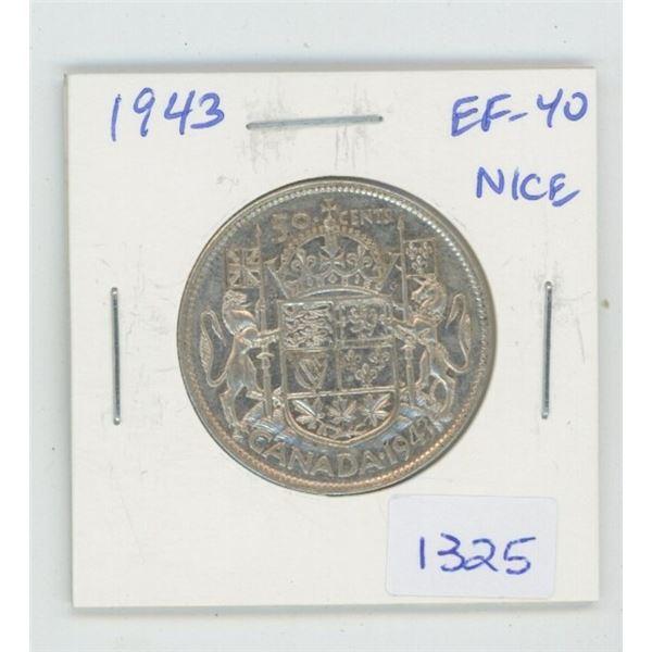 1943 George VI Silver 50 Cents. World War II issue. EF-40. Nice.