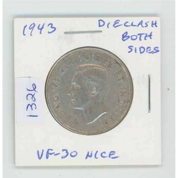 1943 George VI Silver 50 Cents. Die Clash visible on both sides. World War II issue. VF-30. Nice.