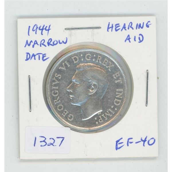 1944 Narrow Date Silver 50 Cents. Hearing Aid variety. Coin displays Hearing Aid in the king's ear,