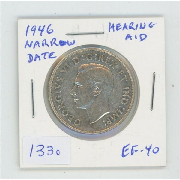 1946 Narrow Date Silver 50 Cents. Coin displays a Hearing Aid in the king's ear, the result of a sev