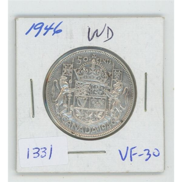 1946 Wide Date Silver 50 Cents. VF-30. Nice.