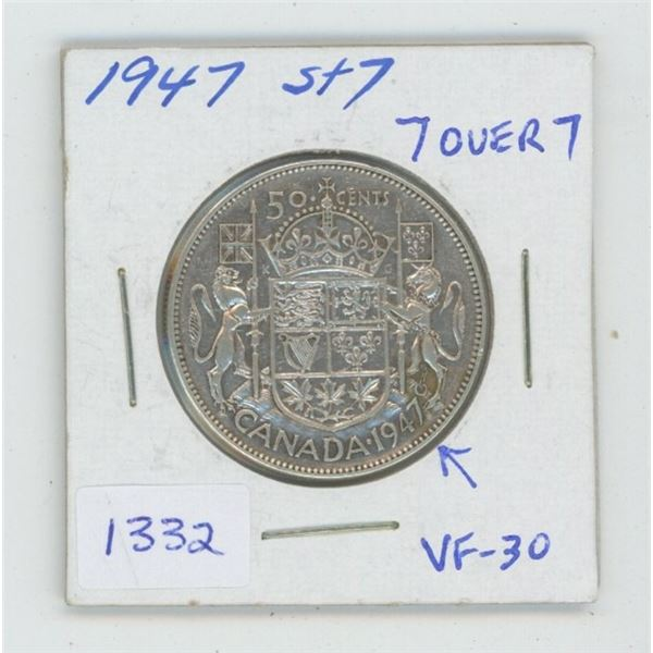 1947 Straight 7 Left Silver 50 Cents. Coin displays a 7 Over 7 in the date. VF-30. Nice.