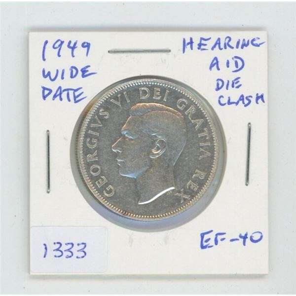1949 Wide Date Silver 50 Cents. Coin displays a Hearing Aid in the king's ear, the result of a sever