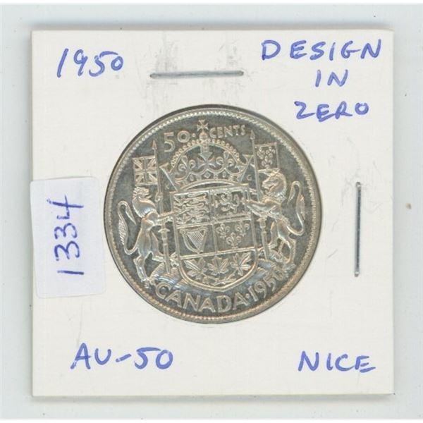 1950 Silver 50 Cents. Design in Zero variety. AU-50. Nice.
