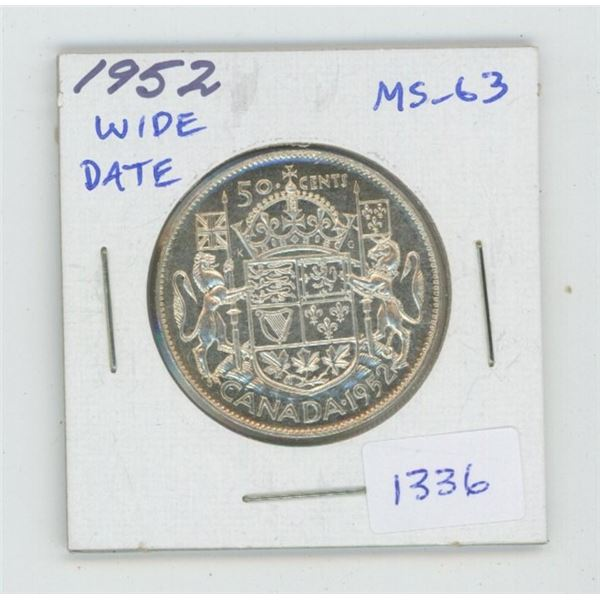 1952 Wide Date Silver 50 Cents. The last silver 50 cents minted for George VI. MS-63. Nice.