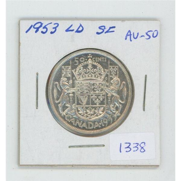 1953 Shoulder Fold Large Date Silver 50 Cents. AU-50. Nice.