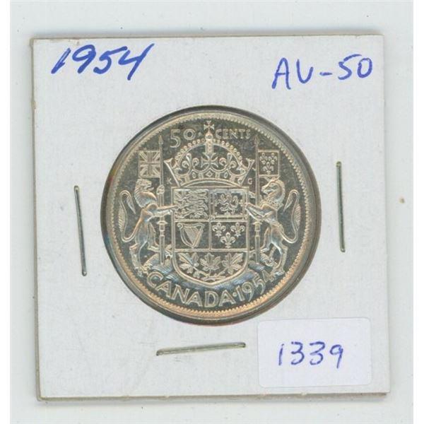 1954 Silver 50 Cents. AU-50. NICE.