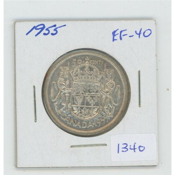 1955 Silver 50 Cents. EF-40. Nice.