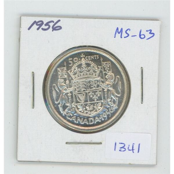 1956 Silver 50 Cents. MS-63. Nice.