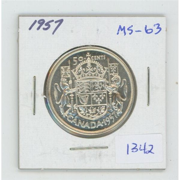 1957 Silver 50 Cents. MS-63. Nice.